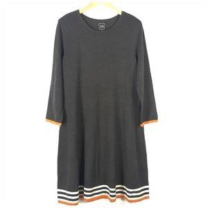 Gray Sweater Dress with Orange & Cream Stripe Trim